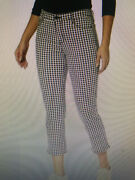 Sanctuary Connector Kick Cropped Jeans Womens Size 24/00 Gingham Black White Nwt