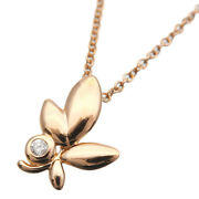 Authentic Tiffanyandco. Olive Leaf 1p Diamond Necklace K18 750 Rose Gold Used F/s