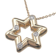 Authentic Tiffanyandco. Dots Star 4p Diamond Necklace K18 750 Yellow Gold Used F/s