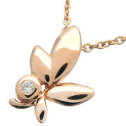Authentic Tiffanyandco. Olive Leaf 1p Diamond Necklace K18 Rose Gold Used F/s