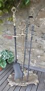 Antique Brass Fire Irons, Hearth Set, Companion Set , French