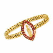 Vintage 14kt Gold Religious Medal Bracelet With Red And White Enamel 6.75