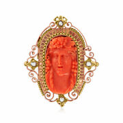 Vintage Red Coral Cameo Pin With 3.5x3mm Cultured Pearls In 18kt Gold