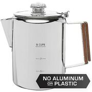 Coletti Bozeman Stainless Steel Coffee Pot Camping Coffee Percolator - 9 Cup