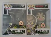 Funko Pop Sdcc 2013 Bloody Alien And Predator Full Set Excellent Conditition