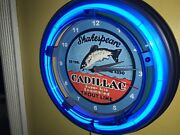 Shakespeare Trout Line Fishing Reel Rod Man Cave Neon Clock Advertising Sign
