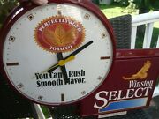 Vintage Advertising Clock Winston Select Perfectly Aged Tobacco Cigarettes Rare