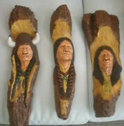 Vtg 3d Indian Heads Painted Chalkware Wall Hanging Decor 181615t Rare