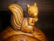 Vtg Ceramic Lidded Nut Dish Shaped Walnut With Squirrel On Top Candy, Nuts