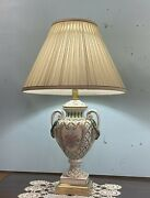 Pair Of Vintage Porcelain Hand Painted Table Lamps With Shades