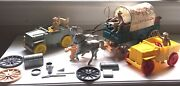 Vintage Ideal Roy Rogers Chuck Wagon, Grey And Yellow Jeeps, Figures, Accessories