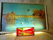 Rare Vintage Budweiser Beer Lighted Sign Duck Hunting 1950and039s