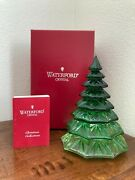 Waterford Crystal Green Emerald 6.5andrdquo Christmas Tree Sculpture Figurine In Box