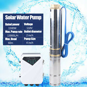 110v Solar Power Water Pump Farm Ranch Dc Submersible Bore Hole Deep Well 1.5kw