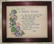 Completed A Nurses's Prayer Cross Stitch Great Unusual Hand Made Framed Gift