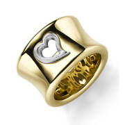 Wide Ring Heart Womenand039s Ring From 585 Yellow Gold And White Gold Shiny B 15mm