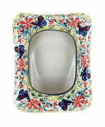 Blue Rose Polish Pottery Blue Butterfly Picture Frame