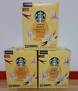 3 Boxes Of Starbucks Honey And Madagascar Vanilla Keurig Coffee 22 Count K-cups