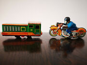Tin Toys Lmz Schuco Russian 1950and039s Motorcycle And Train