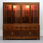 Stunning Chinese Rosewood Sideboard With Glass Shelves Carving Details And Lights
