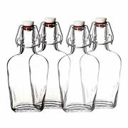 Glass Bottle With Airtight Stopper 8.5 Oz - Pocket Glass Flask Swing Set Of 4