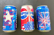 Rare Vintage Pepsi Can Limited Edition The Joy Of Red, White, And Blue Lot Of 3