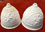 Lladro White Porcelain Christmas Bells Annual 1988 And 1994