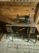 White Treadle Rotary Sewing Machine 1911 With Accessories Tested And Works