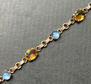 Victorian 14k Bicolor Gold Moonstone And Citrine Antique Sun And Moon Bracelet