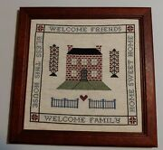 Completed Hand Made Framed Cross Stitch Welcome Family Friends Bless Home House