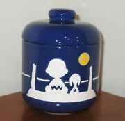 Vintage Peanuts Waechtersbach Charlie Brown And Snoopy Blue Ceramic Canister