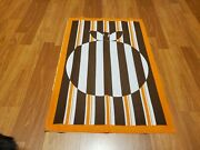 Awesome Rare Vintage Mid Century Retro 70s 60s Org Brn Striped Apple Fabric Wow