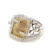 14k White Gold Genuine Diamond Pave Designer Ring Victorian Jewelry For Her