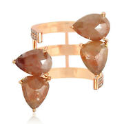 7.39ct Ice Diamond 18kt Solid Rose Gold Adjustable Ring Women Fashion Jewelry