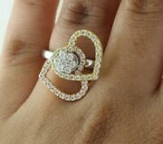 0.66 Ct Real Round Cut Diamond 14k Three Tone Gold Double Heart Motion Ring
