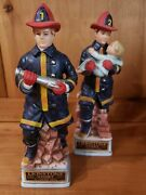 Lionstone Fireman Whiskey Decanters Fire Fighter Set Vintage Empty