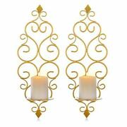 Sziqiqi Iron Wall Candle Sconce Holder Set Of 2 Hanging Wall Mounted Pillar C...
