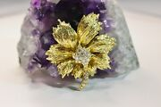 Vintage And Co. 18k Yellow Gold And Diamond Flower Brooch Pin With Box