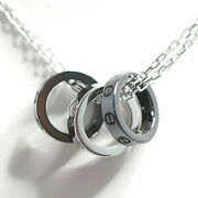 750wg Black Ceramic Love Three Hoops Necklace Only Secondhand _57853