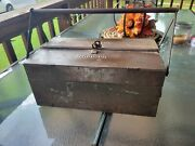 Vintage 1920andrsquos Snap-on Portable Metal Cantilever Lid Tool Box 14 Vgc