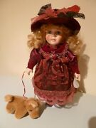 Vintage Porcelain Doll And Her Dog 1990s Collectible Prop Display Ideal Gift