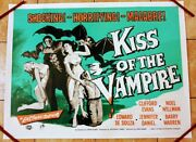 Kiss Of The Vampire 1963 Original Uk Quad Poster.30 X 40 Inches On Linen