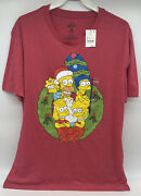 The Simpsons Family Wreath Rustic Christmas Menand039s T-shirt Large