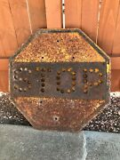 1920's Vintage Stop Sign, Yellow And Black In Color, 26 Inch.