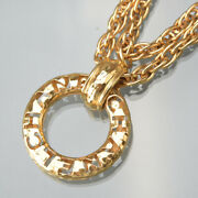 Die-cutting Chain Necklace 2way Pendant Gold Vintage Accessory Jew _53862