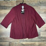 Randm Richards By Karen Kwong Womens 22wp Jacket Maroon Floral Open Front Stretch