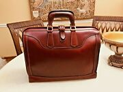 Levenger Vintage Tuscan Red Heavy Leather Briefcase / Doctor Bag - Us Made