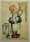 Early Hummel Lithograph Card Boy Doctor Scientist Spilling Liquid