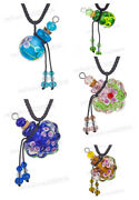 5pcs Murano Glass Perfume Necklace Colorful Bottles Aroma Diffuser Mixed Shape