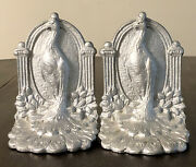 Pair Of Weidlich Brothers Antique Bird Paradise Peacock Art Deco Bookends